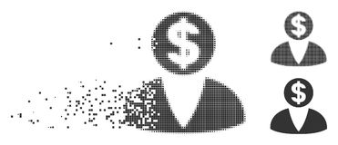 Shredded Pixel Halftone Financier Icon. Gray vector financier icon in dispersed, pixelated halftone and undamaged entire variants. Rectangle particles are used Stock Images