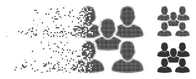 Shredded Pixel Halftone Friends Crowd Icon. Grey vector friends crowd icon in fractured, pixelated halftone and undamaged solid versions. Rectangular particles royalty free illustration