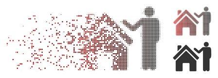 Shredded Pixel Halftone Realty Buyer Icon stock illustration
