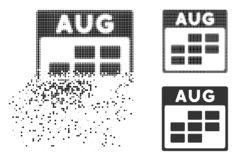 Shredded Pixelated Halftone August Calendar Grid Icon. August calendar grid icon in fractured, dotted halftone and solid versions. Elements are arranged into stock illustration