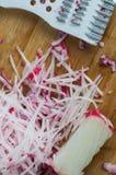 Shredded radish. Details of shredded radish,white background Royalty Free Stock Image