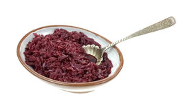 Shredded Red Cabbage Bowl Serving Spoon Royalty Free Stock Photos