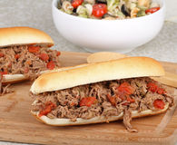 Shredded Roast Beef Sandwiches Stock Image