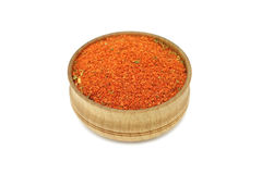 Shredded spices red in a wooden bowl Royalty Free Stock Image