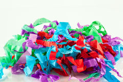 Shredded tissue. A close up of colourful shredded tissue paper with space for text Stock Images
