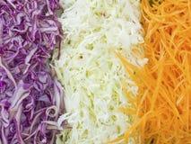 Shredded vegetables. Various grated vegetables background prepare for salad Royalty Free Stock Photo