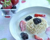 Shredded wheat and berries Royalty Free Stock Photography