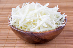 Shredded white cabbage. In wooden bowl Royalty Free Stock Photography