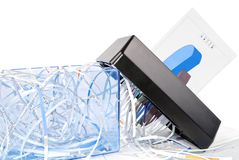 Shredder destroys the document Stock Images