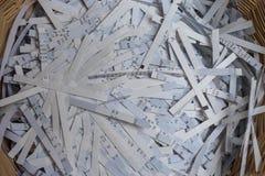 Paper shredder has shredded files - close-up stock image