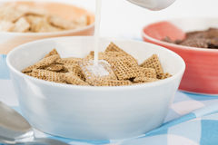 Shreddies. Whole grain wheat cereals in a bue bowl Stock Image