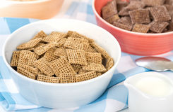Shreddies. Whole grain wheat cereals in a bue bowl Royalty Free Stock Photo