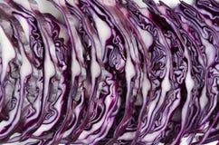 Shreded红叶卷心菜关闭 切好的圆白菜平直的行  免版税图库摄影
