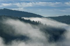 Shreds of fog coming down from the mountains. Fog coming down from the mountains to the river valley Royalty Free Stock Photo