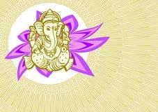 Shree Ganesha card. Card Shree  Ganesha tribal god of success and business Stock Image