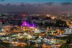 Shree Swaminarayan temple at night, Pune, India. Stock Image