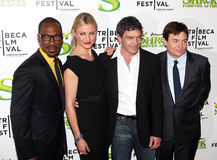 Shrek Forever After Cast. NEW YORK - APRIL 21: L to R, Eddie Murphy, Cameron Diaz, Antonio Banderas and Mike Myers attend the premiere of Shrek Forever After at stock image