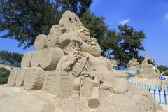 The shrek sand sculpture Stock Images