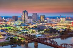 Shreveport, Louisiana, USA Skyline. Over the Red River at dusk royalty free stock images