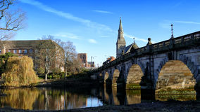 Shrewsbury Bridge. The English Bridge across the river Severn in the county town of Shrewsbury Shropshire England Royalty Free Stock Image
