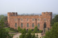 Shrewsbury castle. The red sandstone walls of Shrewsbury Castle stock image