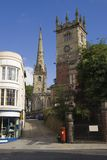 Shrewsbury churches. Two English churches up a lane in Shrewsbury stock image