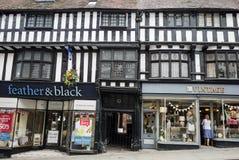 Shrewsbury constructivo blanco y negro tradicional, Shropshire, inglesa Imágenes de archivo libres de regalías