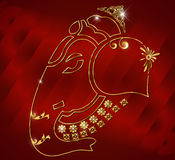 Shri ganesh card design, ganesha on red satin background Royalty Free Stock Photo