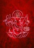 Shri Ganesh Ganpati Texute Czerwony skutek obraz royalty free