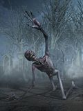 Shrieking Zombie in a Graveyard. A horrified shrieking zombie crawls through a cemetery - 3D render Stock Images