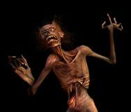 Shrieking zombie sul nero Fotografie Stock