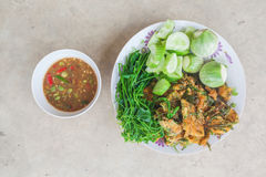 Shrim Paste Sauce, favorite thai traditional spicy food. On grunge backgrond royalty free stock photography