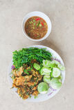 Shrim Paste Sauce, favorite thai traditional spicy food. On grunge backgrond royalty free stock photo