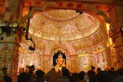Shrimant Dagadu Seth Ganapati idol replica of Brahmanaspati Temple, Ganapati Festival. Pune Stock Photo