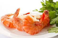 Shrimp. Boiled big red shrimp on a background white Stock Photo