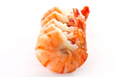 Shrimp. Boiled big red shrimp on a background white Royalty Free Stock Photos