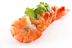 Shrimp. Boiled big red shrimp on a background white Royalty Free Stock Image