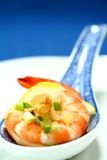 Shrimp. In an oriental chinese spoon royalty free stock image