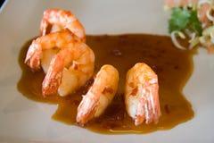 Shrimp. And sauce (closeup image Stock Photos