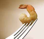 Shrimp. On fork stock photos