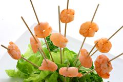 Shrimp. With fresh colorful vegetables Stock Photo