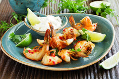 shrimp with Aioli sauce. Royalty Free Stock Images