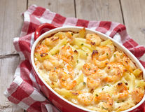 Shrimp Alfredo Penne Pasta Bake Stock Photo