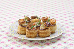 Shrimp and anchovy mini Vol-au-vents royalty free stock photos