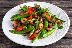 Shrimp And Asparagus Stir Fry Food On White Plate Stock Image