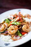 Shrimp And Chicken Stir Fry Royalty Free Stock Photos