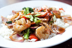 Shrimp And Chicken Stir Fry Royalty Free Stock Image