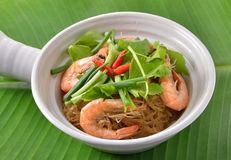Shrimp And Vermicelli Bake Topped With Spicy Sauce Stock Photo