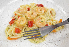 Shrimp and angel hair pasta with fork Royalty Free Stock Photos