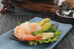 Shrimp appetizer with red wine Stock Photo